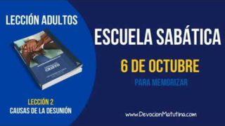 Escuela Sabática | Sábado 6 de octubre 2018 | Para memorizar | Lección adultos