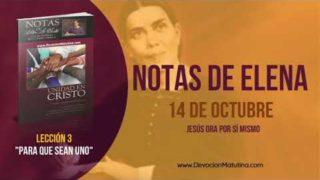 Notas de Elena | Domingo 14 de octubre 2018 | Jesús ora por sí mismo | Escuela Sabática